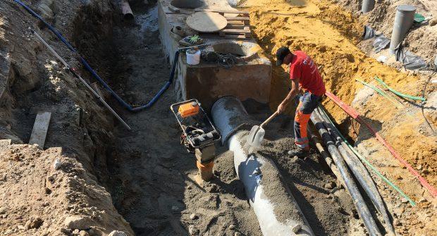 aanleg algemene riolering hoofdriolering RWA DWA verkaveling Sint-Pieters-Leeuw