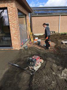 Meise terras keramische tegels funderingswerk terras 1