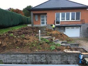 Vlezenbeek sifonput L-profielen, Keerwanden oprit klinkers voortuin afbraak tuinmuur uitgraven stookolieketel_0166