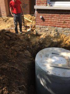 gescheiden riolering met hemelwaterciterne en septische put Sint-Pieters-Leeuw 4